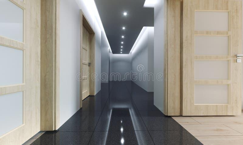 Corredor novo da casa do apartamento com luzes conduzidas e sagacidade de madeira das paredes ilustração royalty free