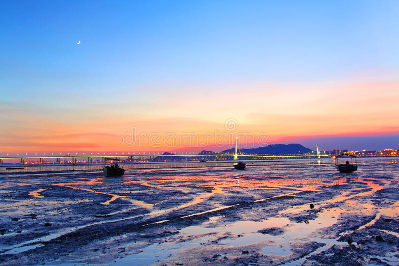 Corredor ocidental de Hong Kong Shenzhen no por do sol imagem de stock