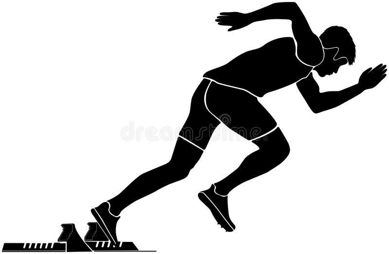 Corredor preto do velocista do começo da silhueta ilustração stock