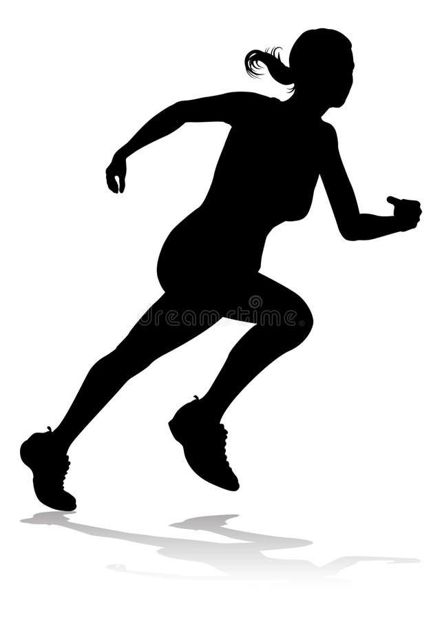 Corredor que compete a silhueta do atletismo ilustração do vetor