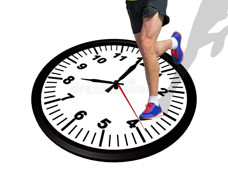 Corredor 8 reloj por la mañana - del ` de ocho o representación 3d imagenes de archivo