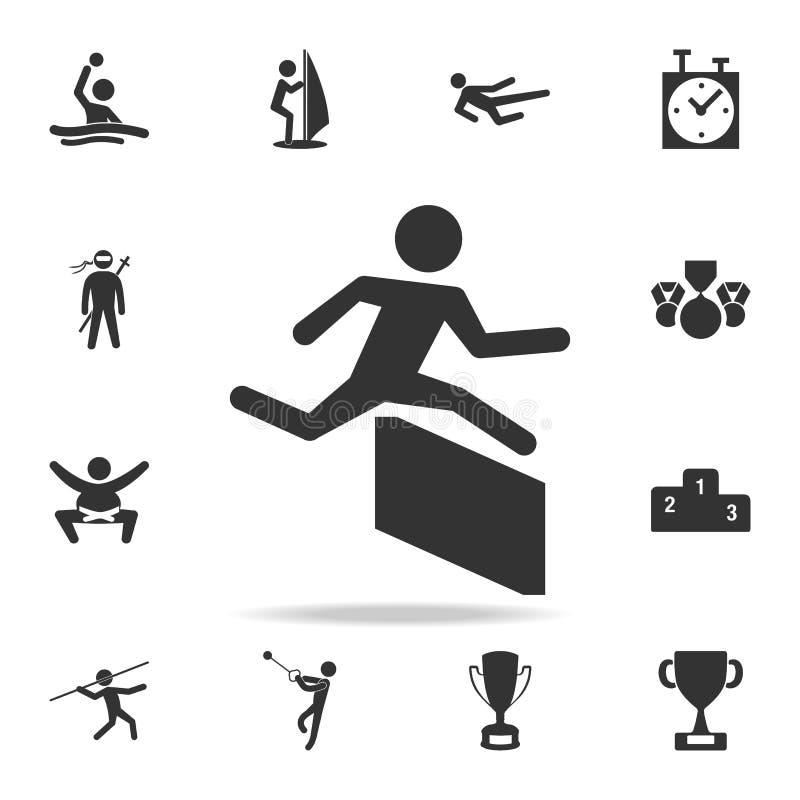 Corredor sobre icono de la barrera Sistema detallado de iconos de los atletas y de los accesorios Diseño gráfico de la calidad su stock de ilustración