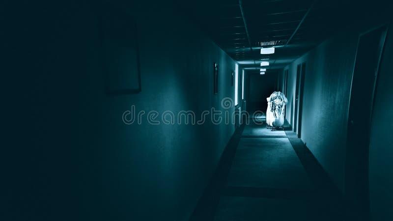 Corredor terrível no hotel, corredor da obscuridade do horror fotos de stock royalty free