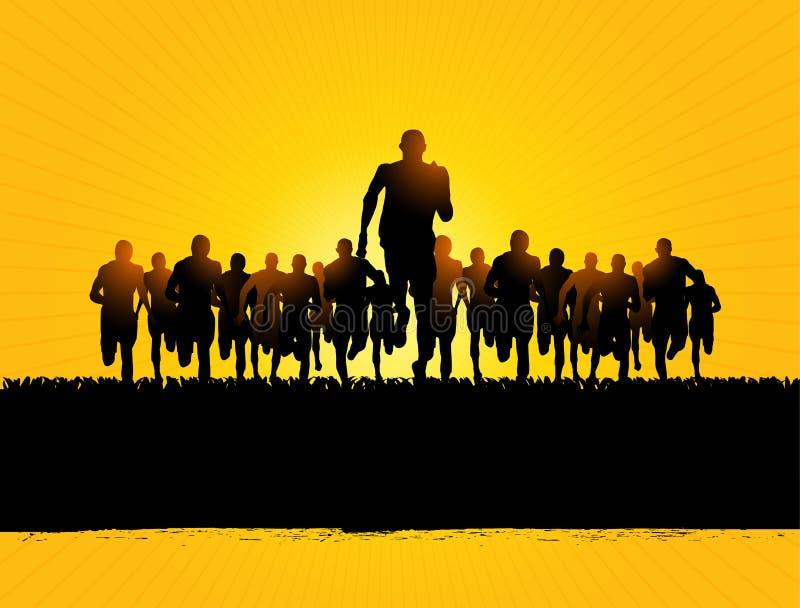 Corredores de maratón stock de ilustración