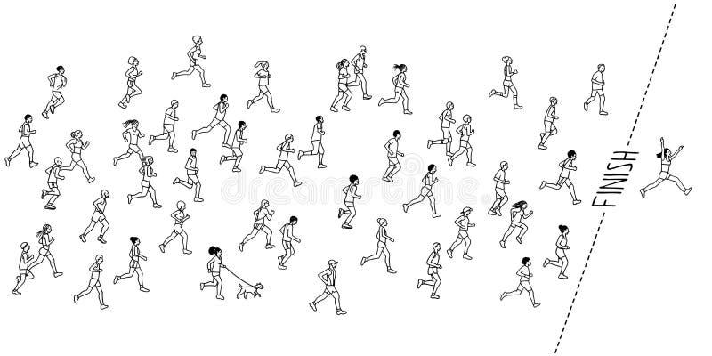 Corredores de maratón dibujados mano stock de ilustración