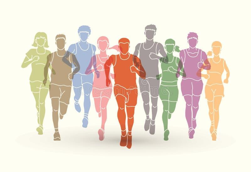 Corredores de maratón, funcionamiento del grupo de personas, funcionamiento de los hombres y de las mujeres stock de ilustración