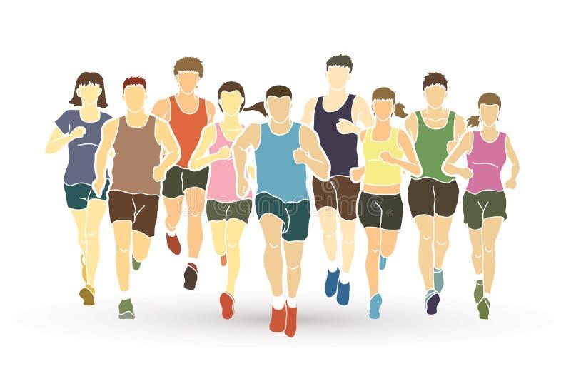 Corredores de maratón, funcionamiento del grupo de personas, funcionamiento de los hombres y de las mujeres libre illustration