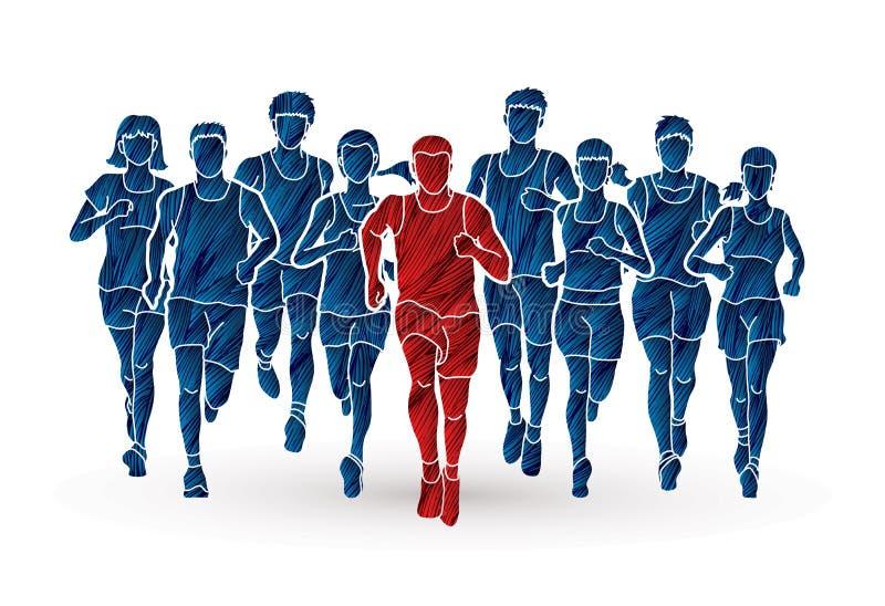 Corredores de maratón, funcionamiento del grupo de personas, hombres y mujeres corriendo junto stock de ilustración