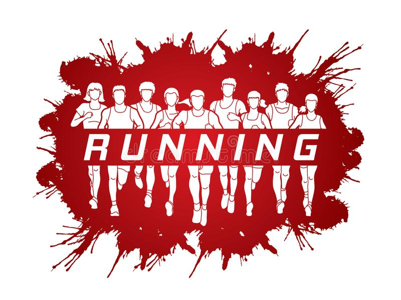 Corredores de maratón, funcionamiento del grupo de personas, hombres y mujeres corriendo con el funcionamiento del texto stock de ilustración