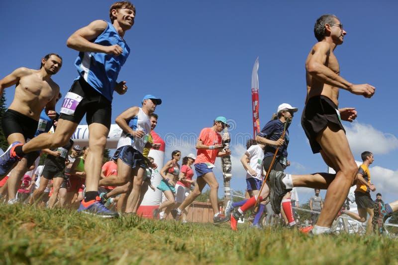 Corredores de maratón totales en la montaña fotografía de archivo libre de regalías