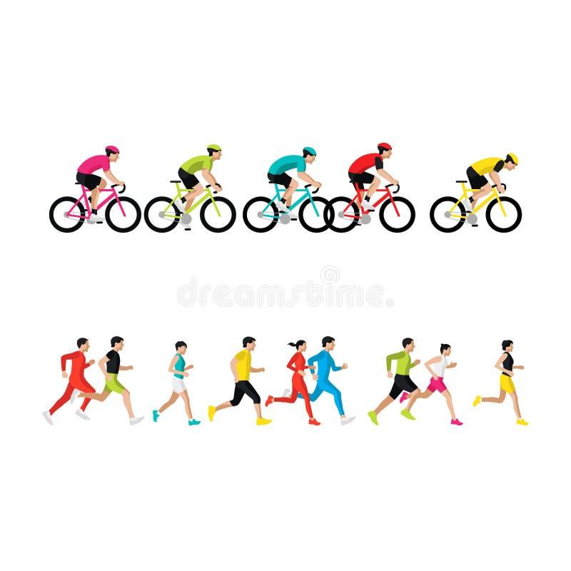 Corredores de maratona Cavaleiros da bicicleta Vista lateral corrida povos Os ciclistas montam a vista lateral Bicycle a compet?n ilustração do vetor