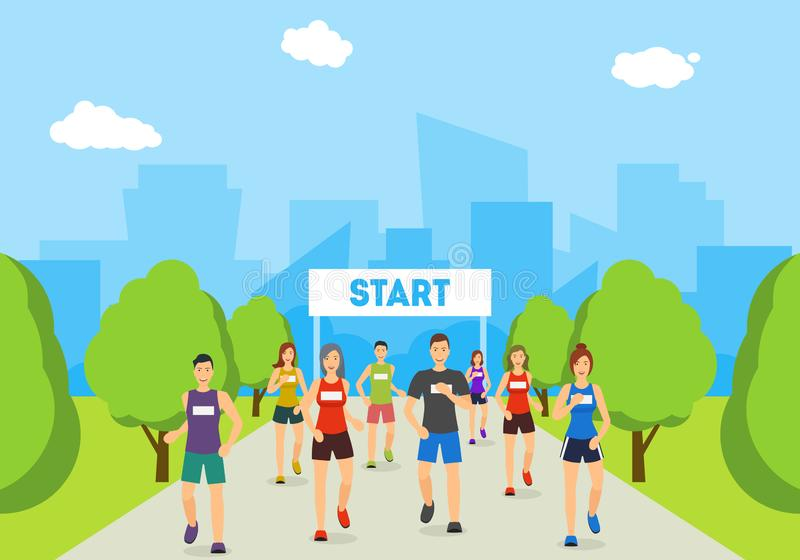 Corredores de maratona dos desenhos animados na trilha no cartaz do cartão do parque Vetor ilustração stock