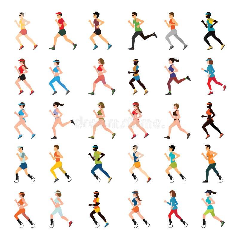 Corredores de maratona e velocista da desvantagem com pé protético ilustração do vetor