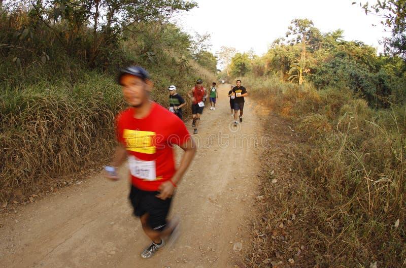 Corredores del rastro del maratón imagenes de archivo
