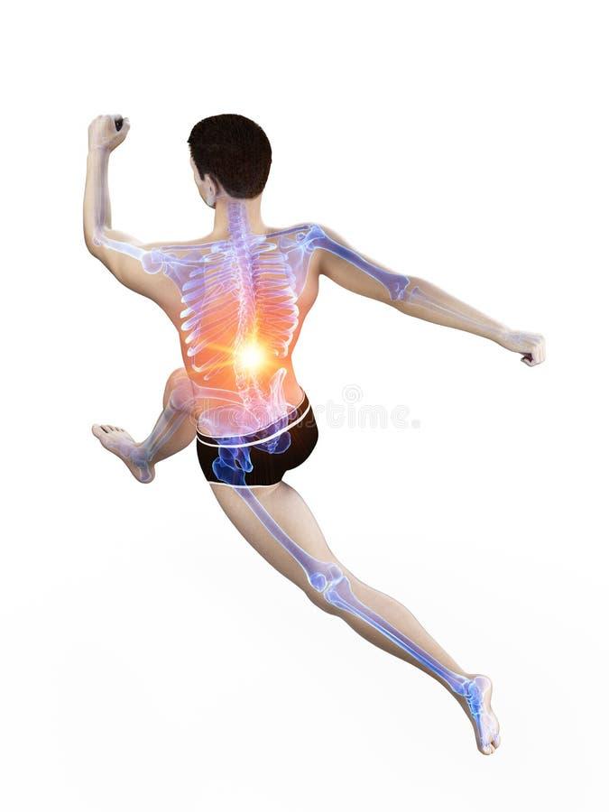 Corredores dolorosos detr?s ilustración del vector