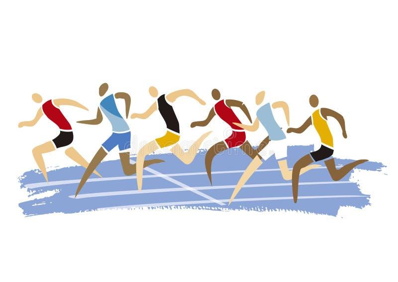 Corredores masculinos do atletismo, raça de corrida ilustração do vetor
