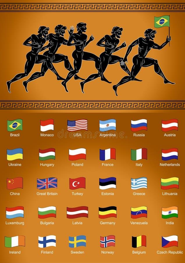 corredores Negro-figurados con la bandera Conjunto de indicadores Ejemplo en el estilo del griego clásico El concepto de los jueg libre illustration