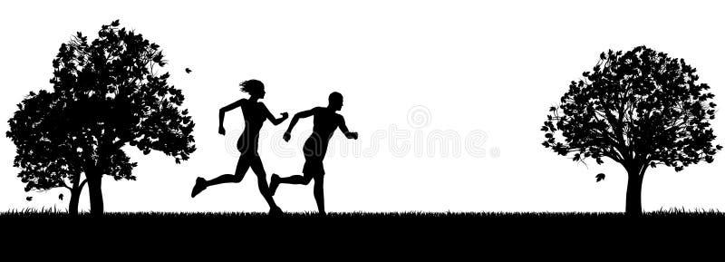 Corredores ou basculadores que exercitam no parque ilustração stock