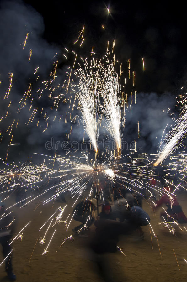 Correfoc ( motion image ) stock photos