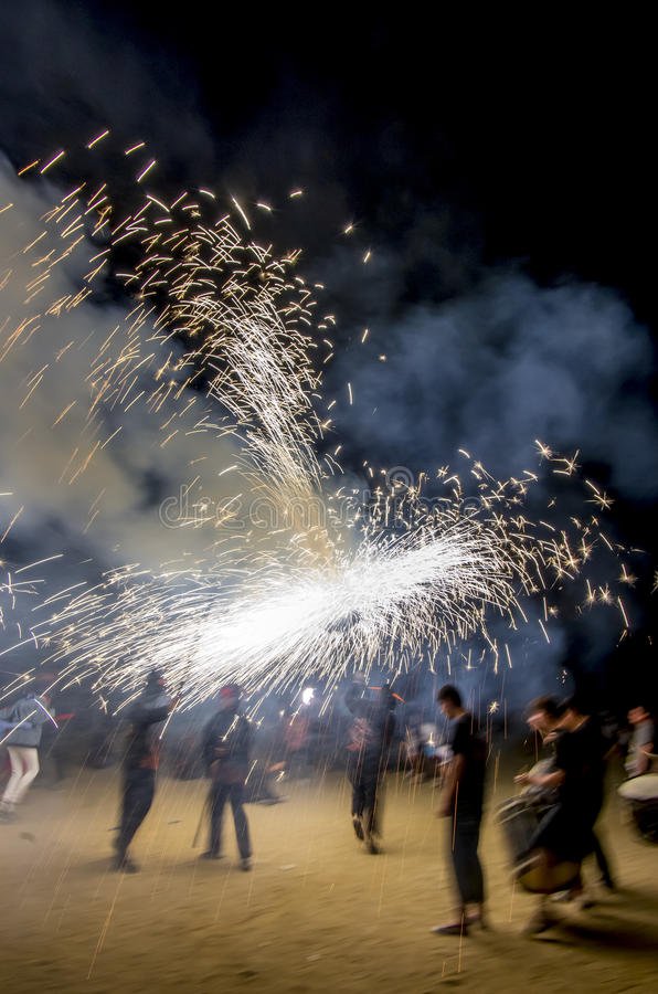 Correfoc ( motion image ) royalty free stock images