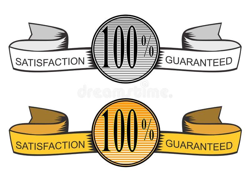 correia 100% do selo da satisfação ilustração do vetor