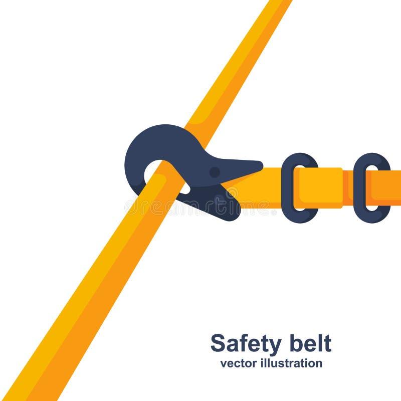 Correia de segurança da construção Cinto de segurança prendido à tubulação ilustração royalty free