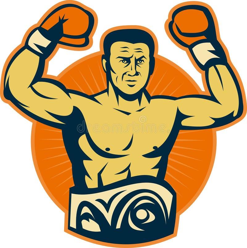 Correia do campeonato do pugilista do campeão ilustração do vetor