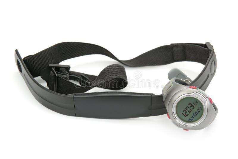 Correia do relógio e da caixa do monitor da frequência cardíaca imagens de stock