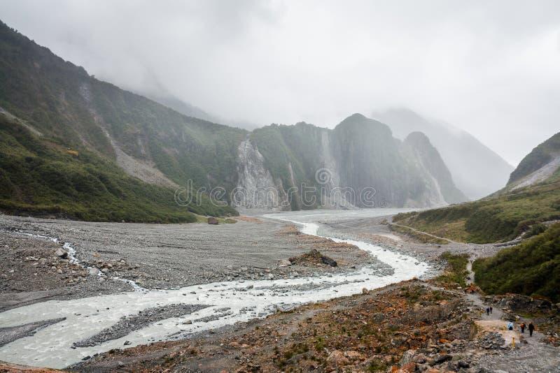 Correia do rio de Franz Joseph Glacier fotografia de stock