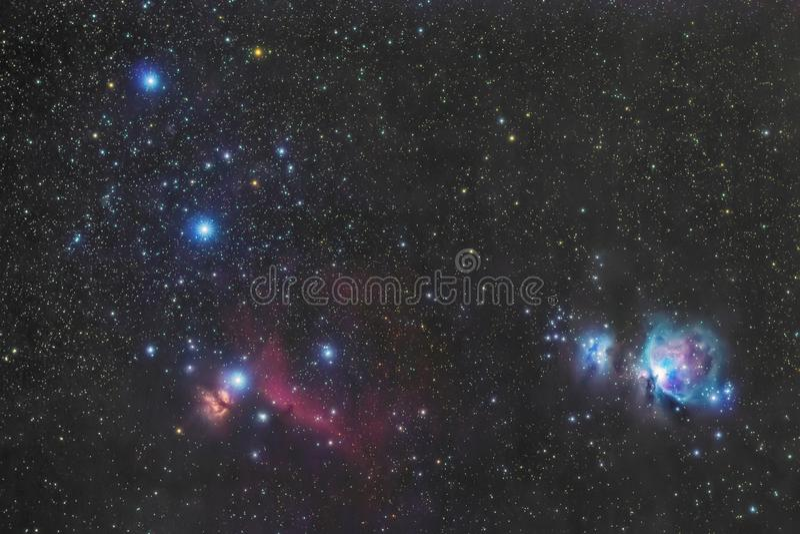 A correia no céu do inverno, estrelas Alnitak de Orion, Alnilam, Mintaka, nebulosa de Horsehead, Orion Nebula foto de stock royalty free