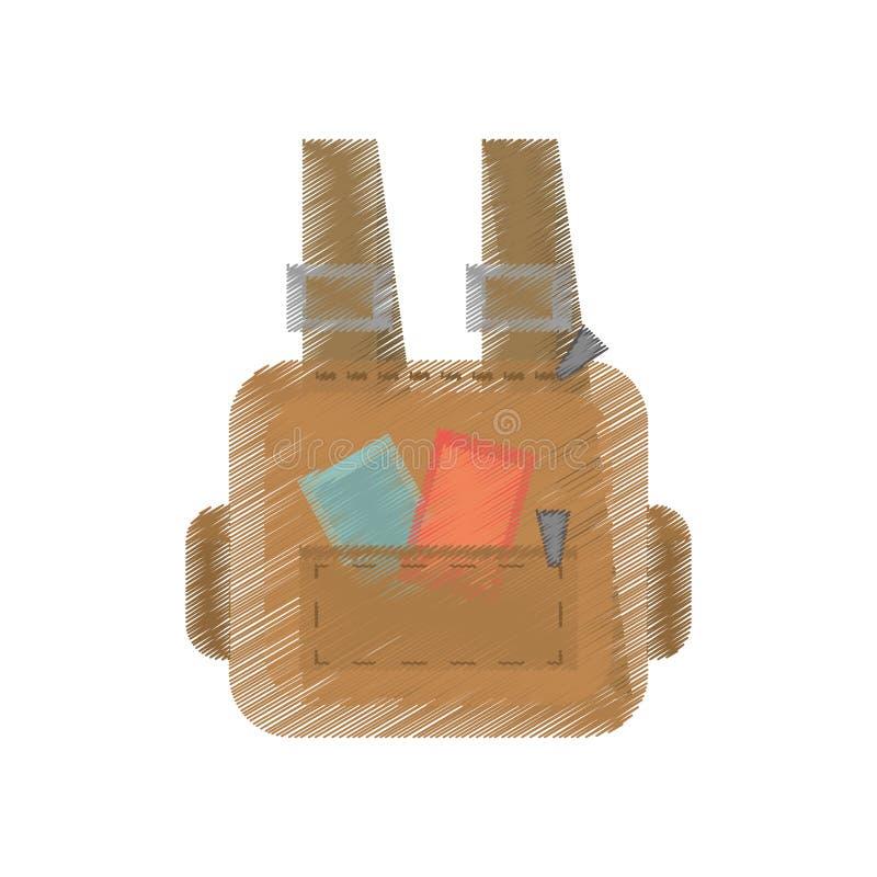 correias do equipamento do curso da bagagem da mala de viagem do desenho ilustração do vetor