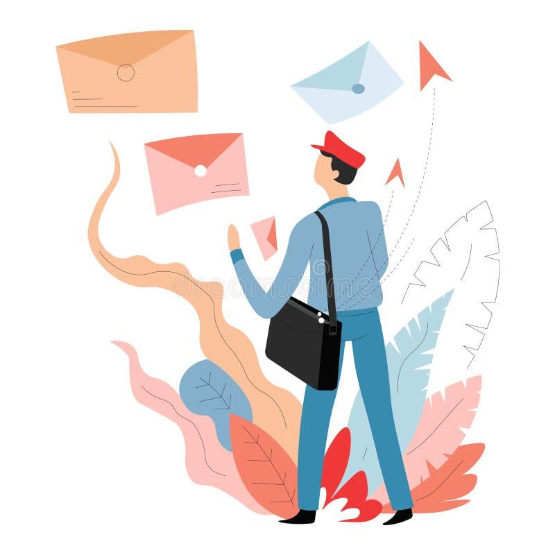 Correio da entrega e de carteiro ou de carteiro do cargo letras nos envelopes ilustração royalty free
