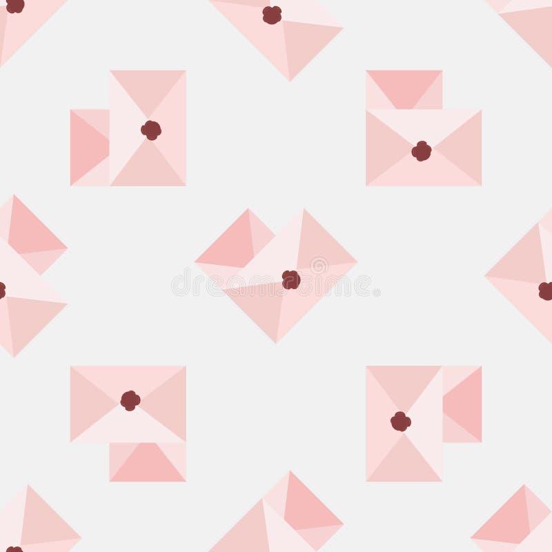 Correio dado forma coração O amor da inscrição Envelopes do amor com teste padrão sem emenda dos corações ilustração royalty free
