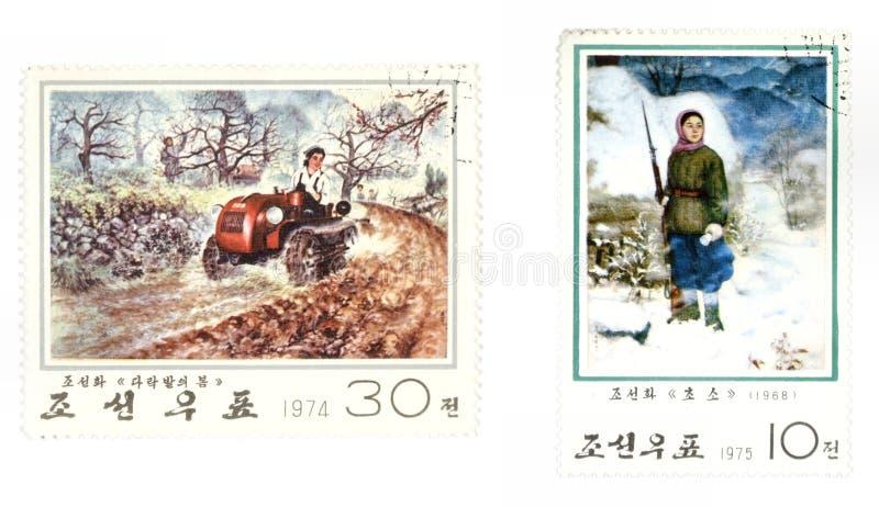Correio de Coreia norte - selos de porte postal foto de stock