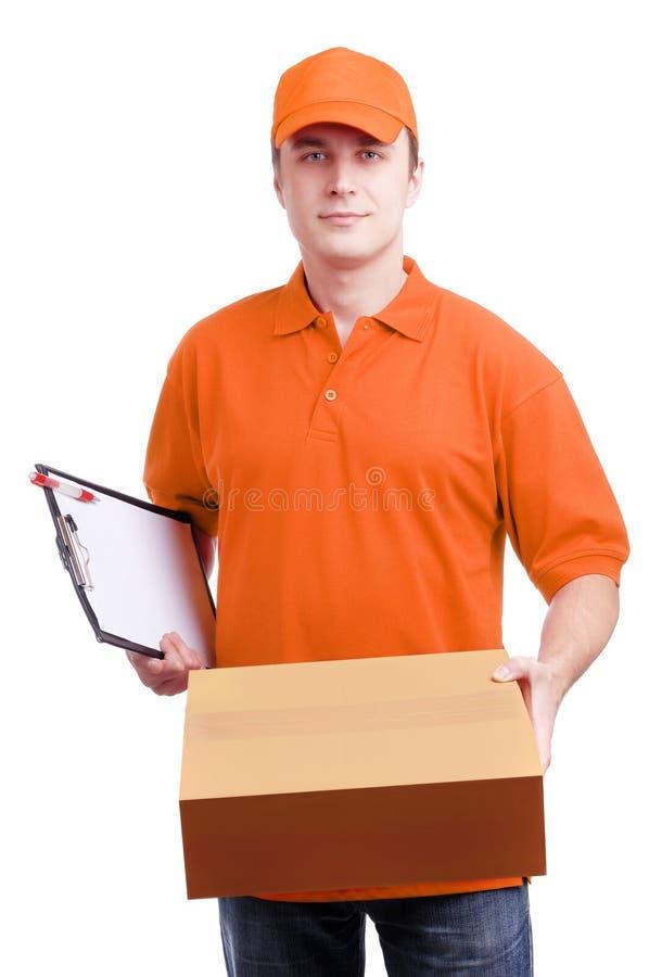 correio do homem na laranja foto de stock royalty free