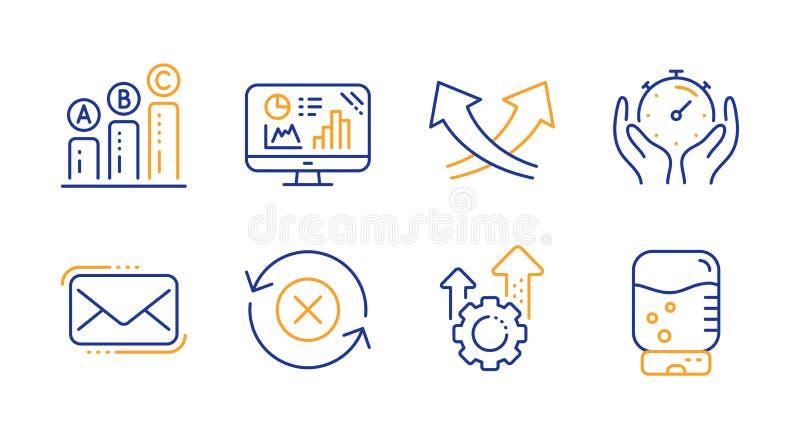 Correio do Messenger, setas de interseção e conjunto de ícones de gráfico do Analytics Seo gear, Timer e Rejeitar sinais de atual ilustração do vetor
