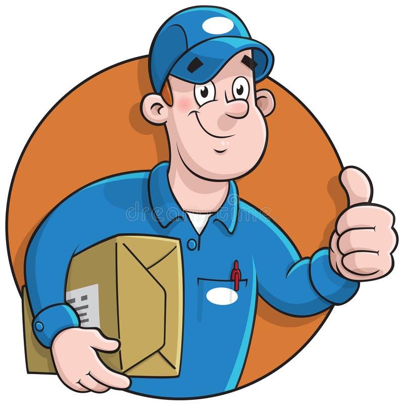 Correio dos desenhos animados que faz uma entrega ilustração stock