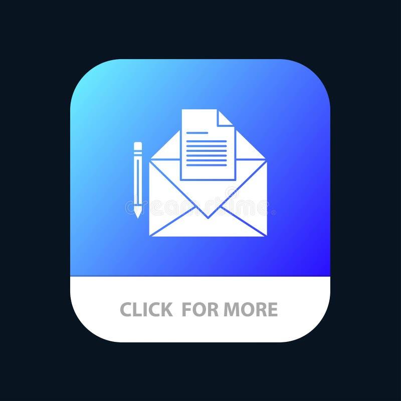 Correio, mensagem, fax, botão móvel do App da letra Android e do Glyph do IOS versão ilustração royalty free