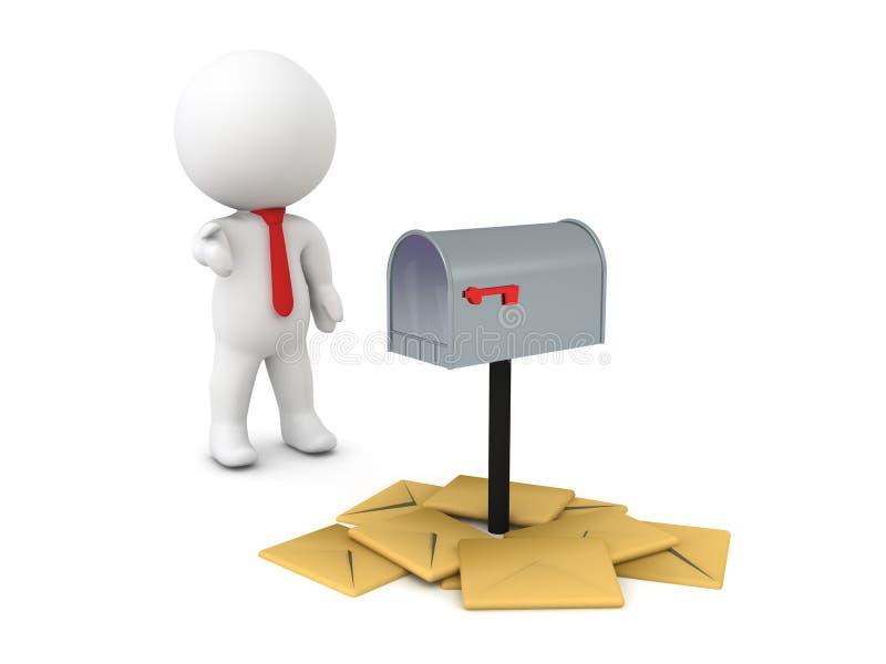 correio não solicitado da pilha da exibição do caráter 3D em torno da caixa postal ilustração stock