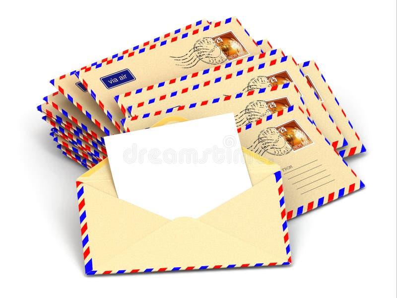 Correio. Pilha de envelopes e de letras vazias. ilustração royalty free