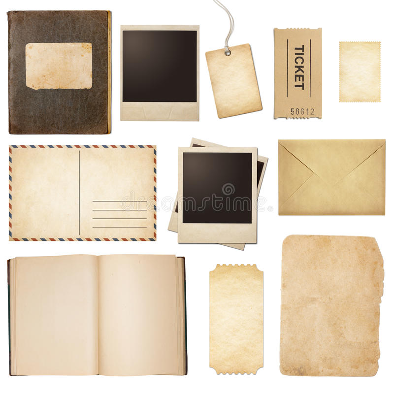 Correio velho, papel, livro, quadros do polaroid, selo imagens de stock royalty free