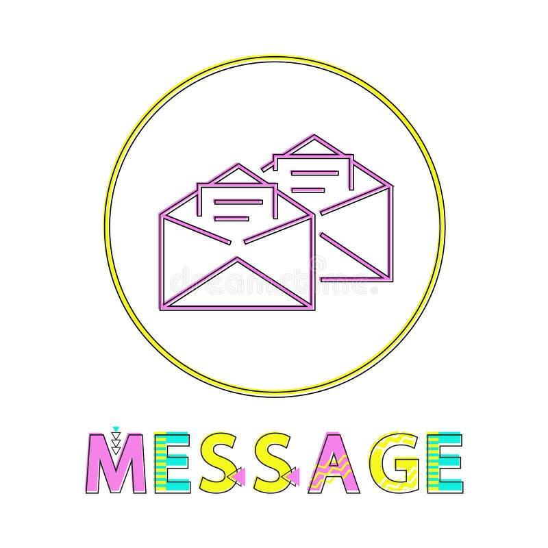 Correios da mensagem na ilustração do vetor dos envelopes ilustração stock