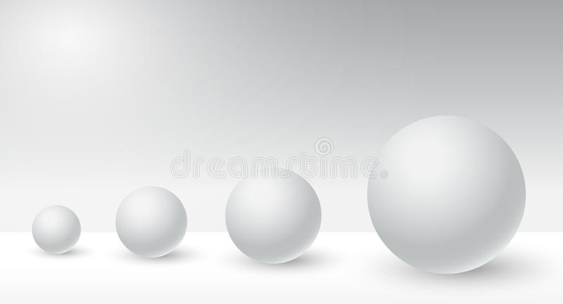 Correlate circle big and small with copy space on white background,difference of shape. Comparative with disadvantage and advantageous illustration,business stock illustration