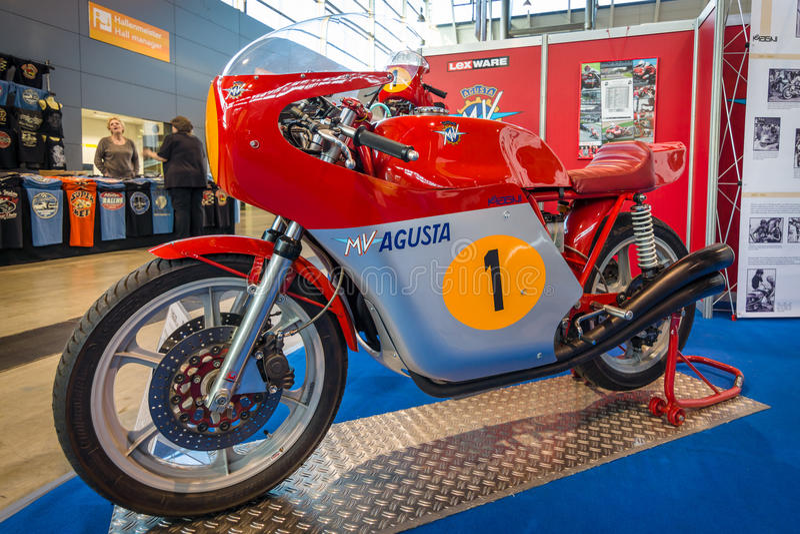 Correndo motociclo Magni sistemi MV Agusta 750 America eccellente, 1977 immagine stock libera da diritti