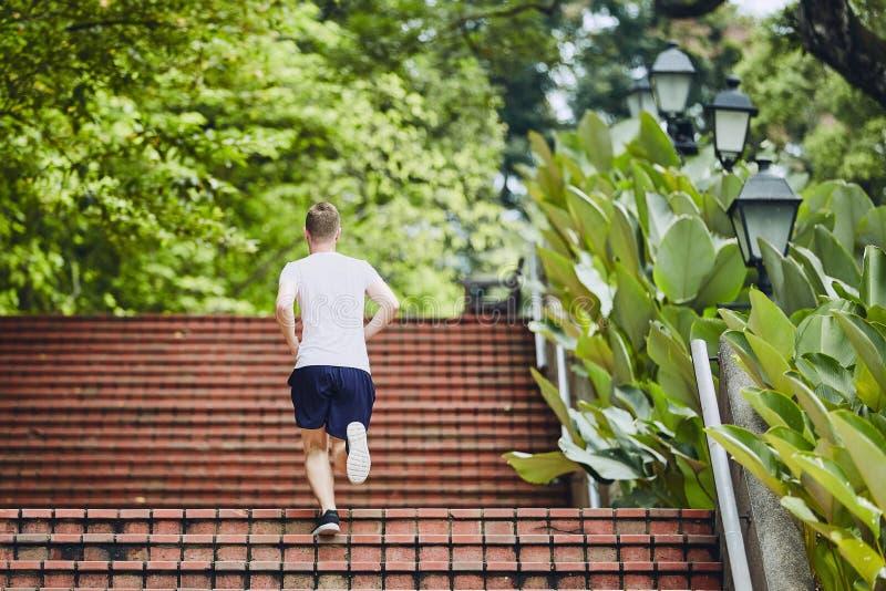 Correndo nel parco pubblico immagini stock