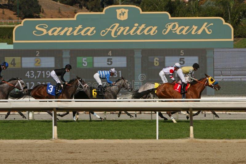 Correndo a Santa Anita Park storica fotografie stock libere da diritti