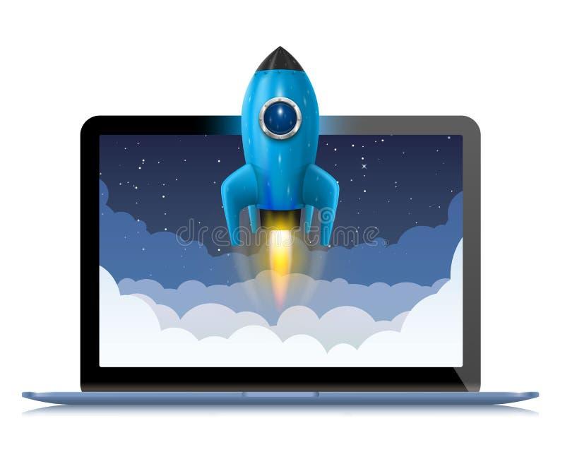 Correndo um foguete de espaço de um computador, espirre a ideia criativa, fundo de Rocket, ilustração do vetor ilustração royalty free
