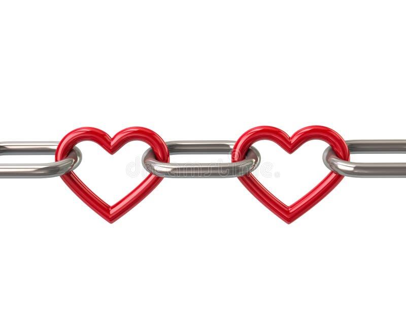 Corrente com duas relações vermelhas do coração ilustração stock