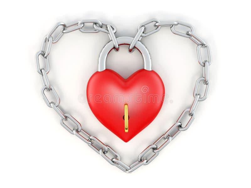 Corrente com o fechamento como o coração ilustração do vetor