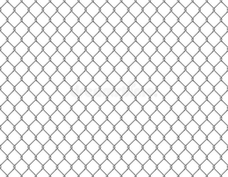 Corrente da cerca sem emenda A barreira sem emenda da prisão do teste padrão da malha metálica da relação do fio fixou aços ilustração stock